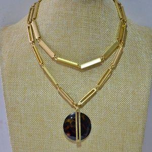 New Stella & Dot Jaya Tortoise Pendant Necklace
